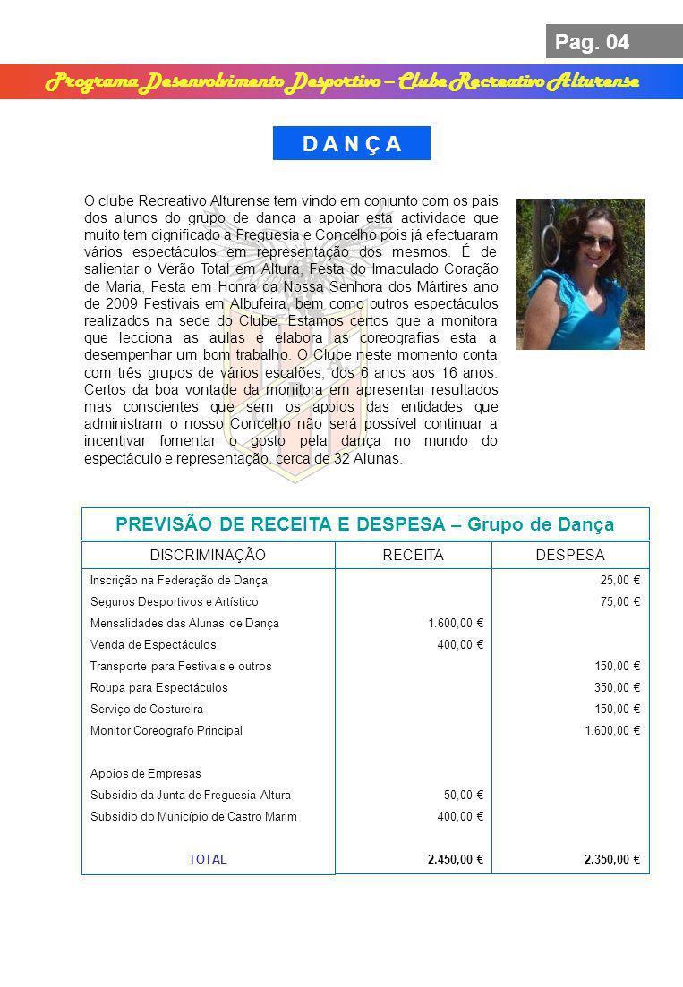 Pag. 04 Programa Desenvolvimento Desportivo – Clube Recreativo Alturense D A N Ç A PREVISÃO DE RECEITA E DESPESA – Grupo de Dança DISCRIMINAÇÃORECEITA