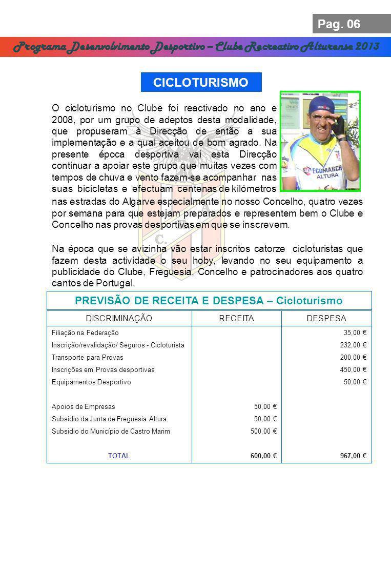 Pag. 06 Programa Desenvolvimento Desportivo – Clube Recreativo Alturense 2013 CICLOTURISMO PREVISÃO DE RECEITA E DESPESA – Cicloturismo DISCRIMINAÇÃO