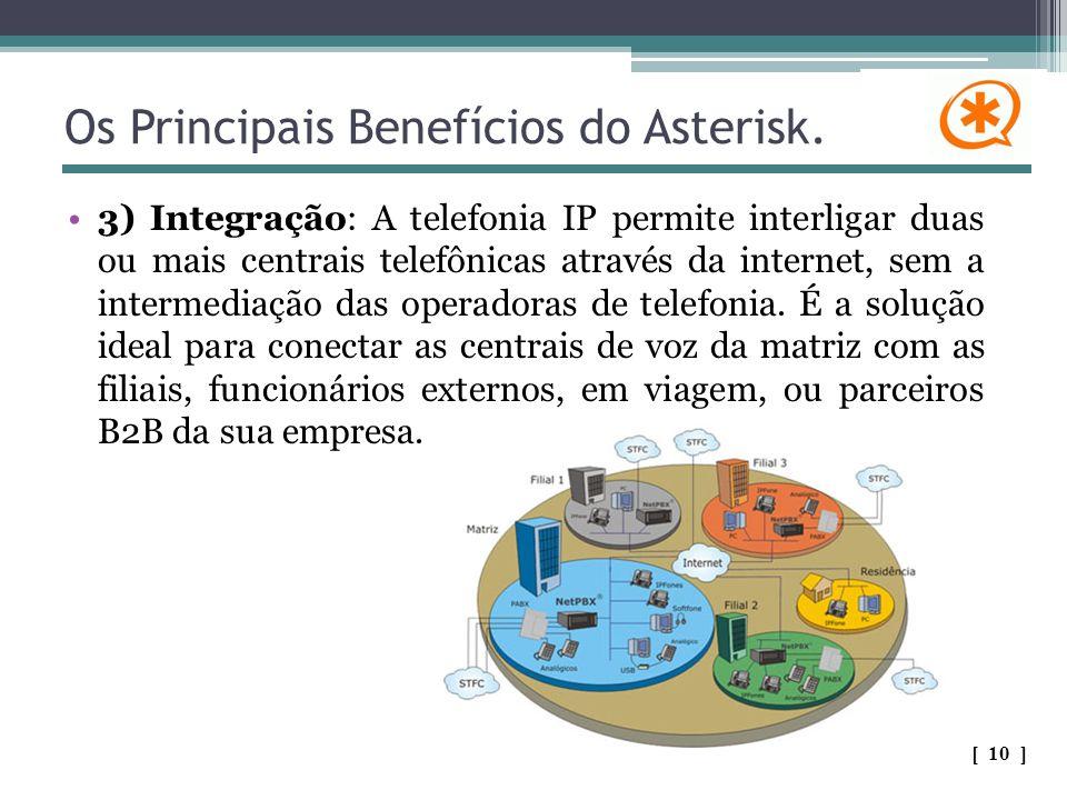 Os Principais Benefícios do Asterisk. 3) Integração: A telefonia IP permite interligar duas ou mais centrais telefônicas através da internet, sem a in
