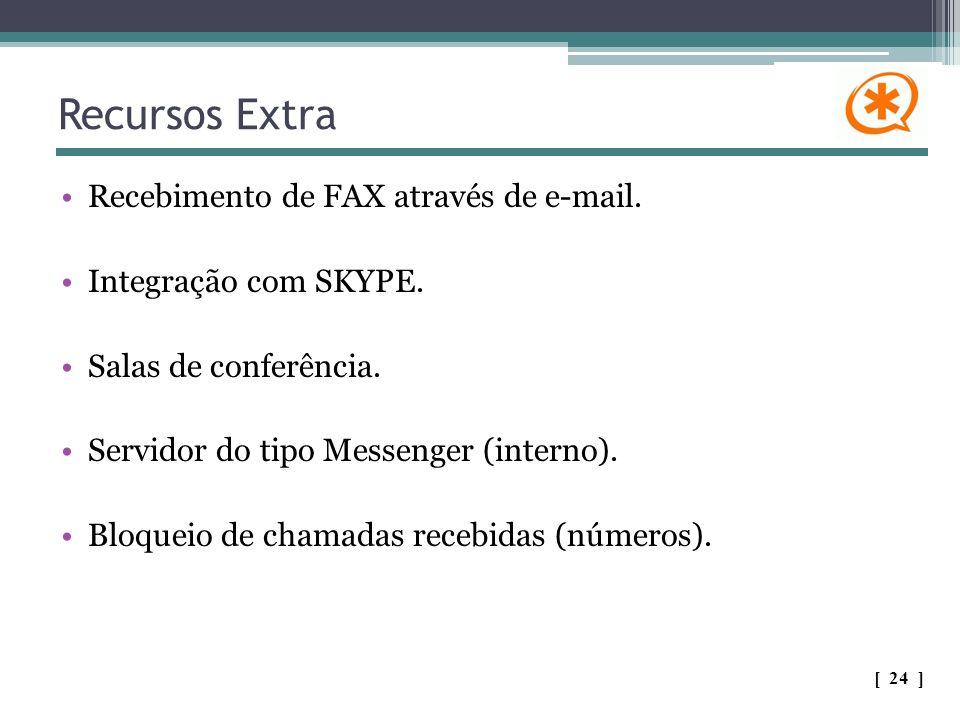 Recursos Extra Recebimento de FAX através de e-mail. Integração com SKYPE. Salas de conferência. Servidor do tipo Messenger (interno). Bloqueio de cha