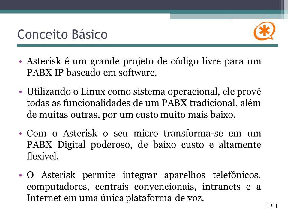 Conceito Básico Asterisk é um grande projeto de código livre para um PABX IP baseado em software. Utilizando o Linux como sistema operacional, ele pro