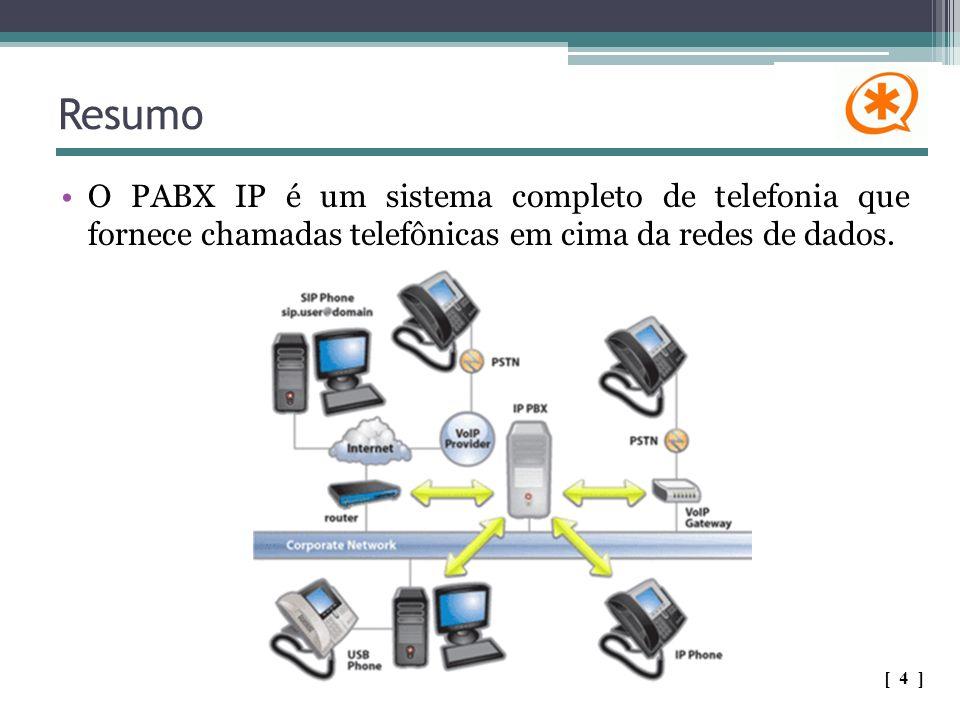 Resumo O PABX IP é um sistema completo de telefonia que fornece chamadas telefônicas em cima da redes de dados. [ 4 ]