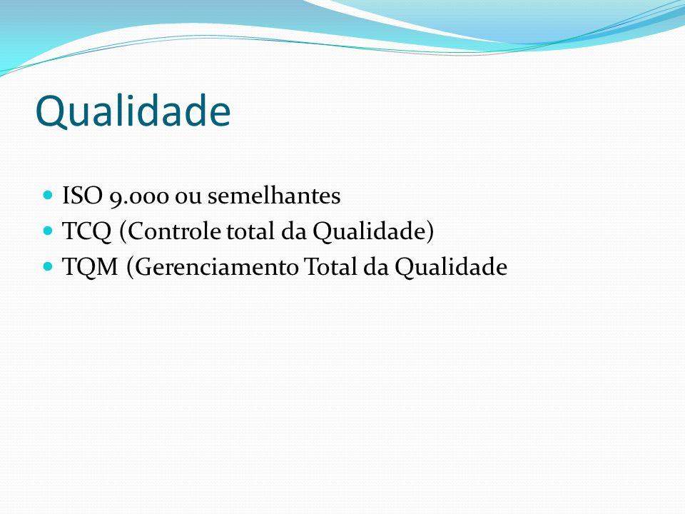 Qualidade ISO 9.000 ou semelhantes TCQ (Controle total da Qualidade) TQM (Gerenciamento Total da Qualidade