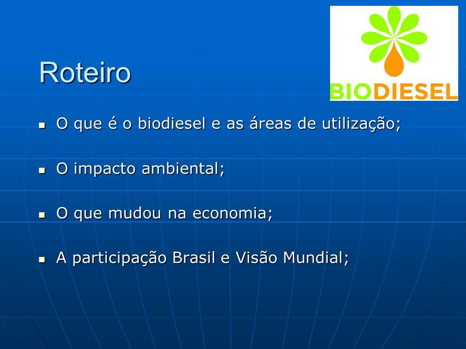 O que é o biodiesel e as áreas de utilização; O que é o biodiesel e as áreas de utilização; O impacto ambiental; O impacto ambiental; O que mudou na e