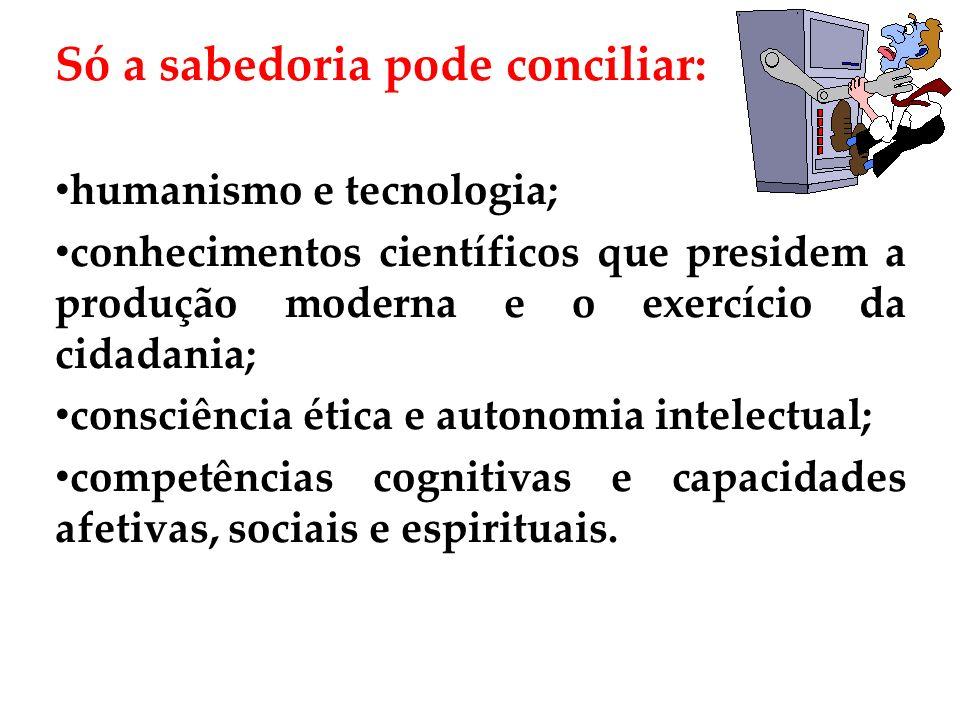 Só a sabedoria pode conciliar: humanismo e tecnologia; conhecimentos científicos que presidem a produção moderna e o exercício da cidadania; consciênc