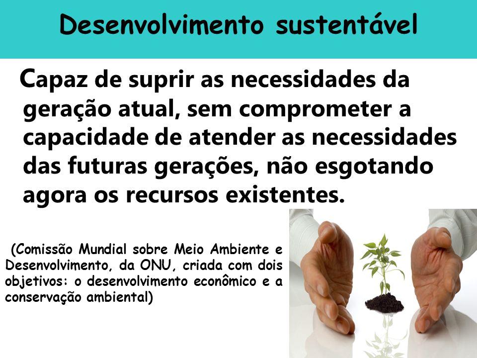 C apaz de suprir as necessidades da geração atual, sem comprometer a capacidade de atender as necessidades das futuras gerações, não esgotando agora o