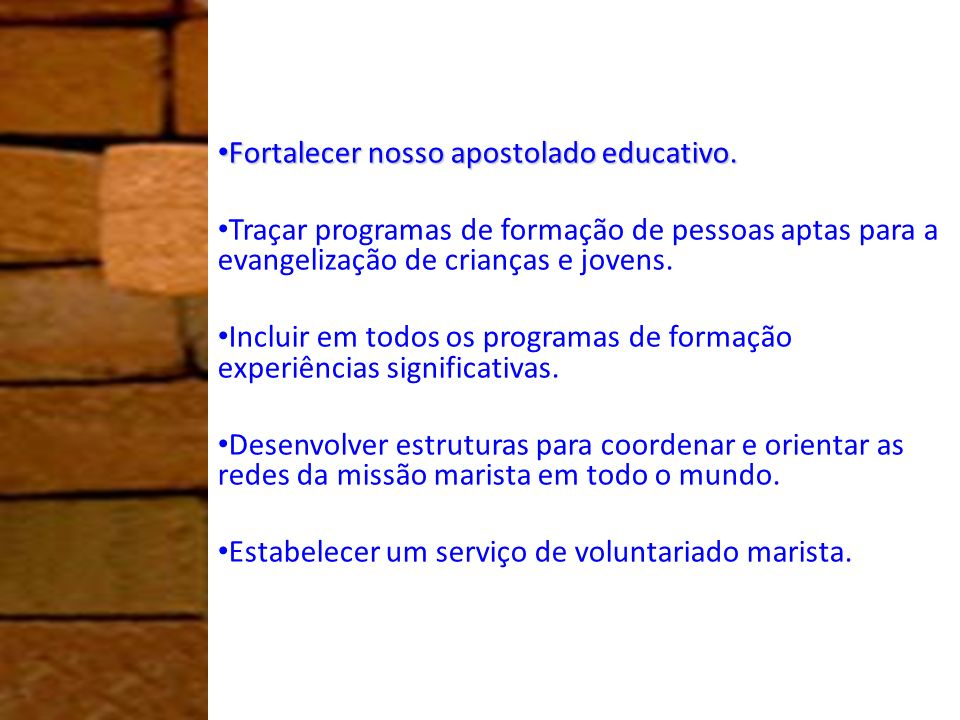 Fortalecer nosso apostolado educativo. Fortalecer nosso apostolado educativo. Traçar programas de formação de pessoas aptas para a evangelização de cr