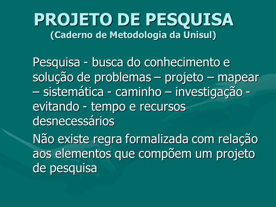 PROJETO DE PESQUISA (Caderno de Metodologia da Unisul) Pesquisa - busca do conhecimento e solução de problemas – projeto – mapear – sistemática - cami
