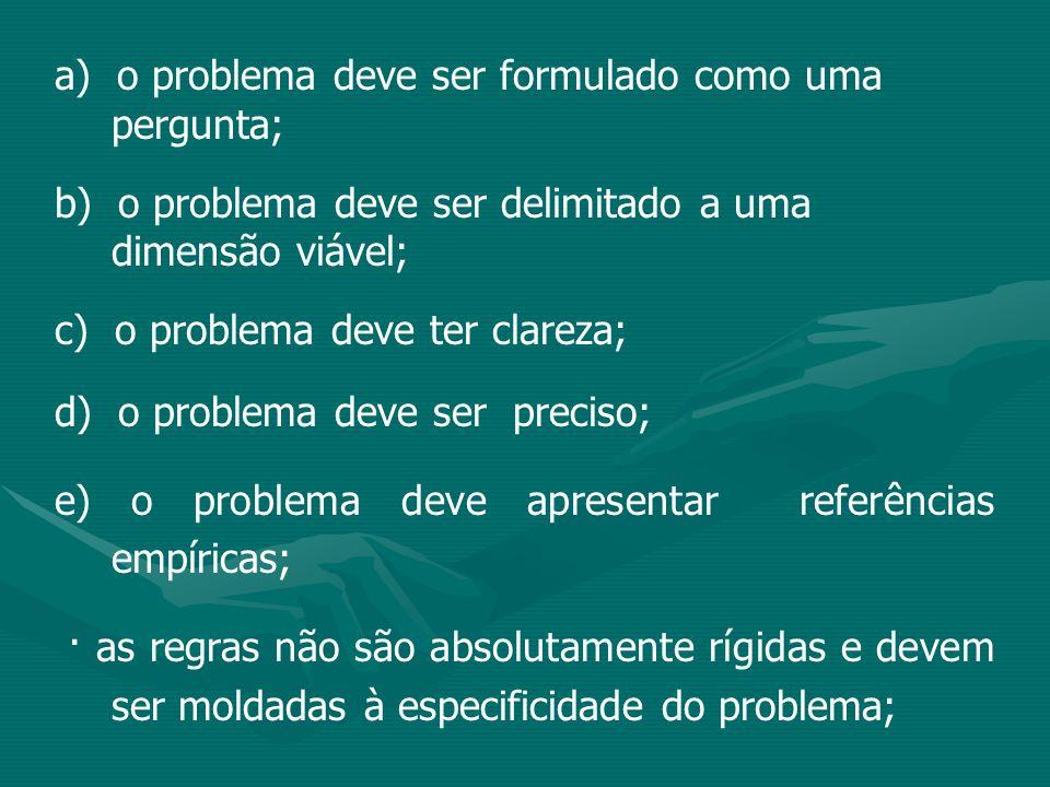 a) o problema deve ser formulado como uma pergunta; b) o problema deve ser delimitado a uma dimensão viável; c) o problema deve ter clareza; d) o prob