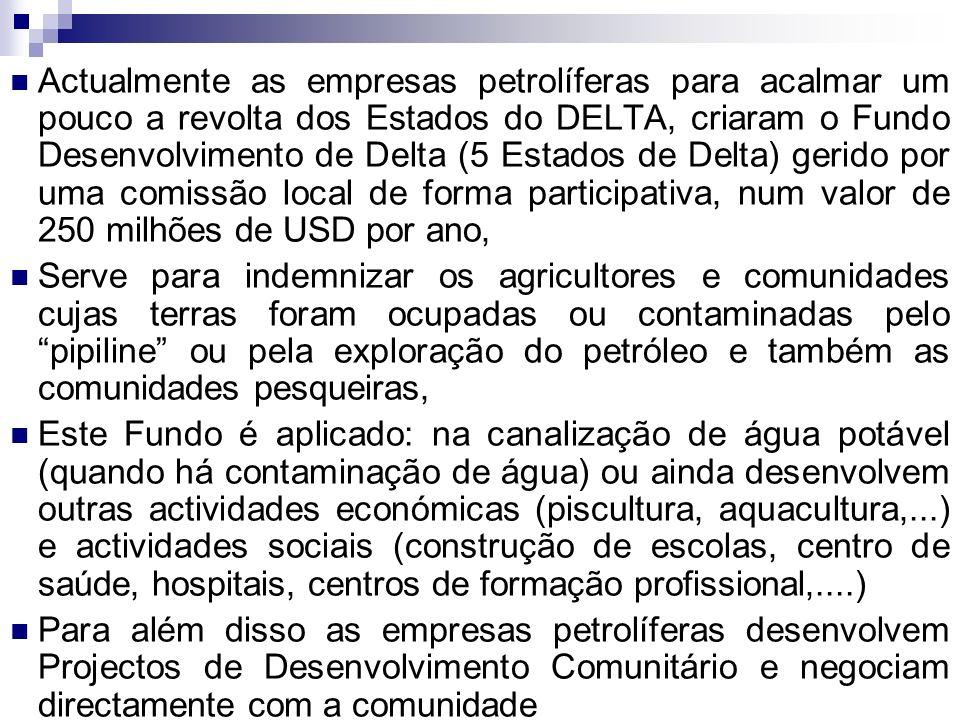 Actualmente as empresas petrolíferas para acalmar um pouco a revolta dos Estados do DELTA, criaram o Fundo Desenvolvimento de Delta (5 Estados de Delt