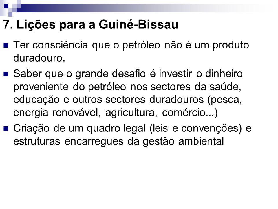 7. Lições para a Guiné-Bissau Ter consciência que o petróleo não é um produto duradouro. Saber que o grande desafio é investir o dinheiro proveniente