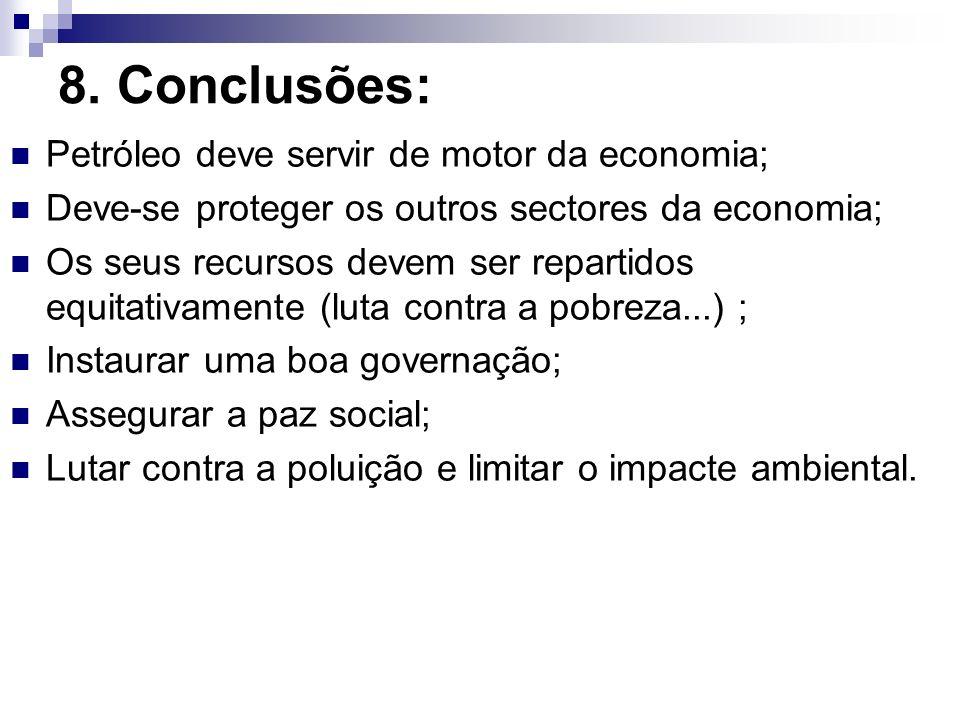 8. Conclusões: Petróleo deve servir de motor da economia; Deve-se proteger os outros sectores da economia; Os seus recursos devem ser repartidos equit