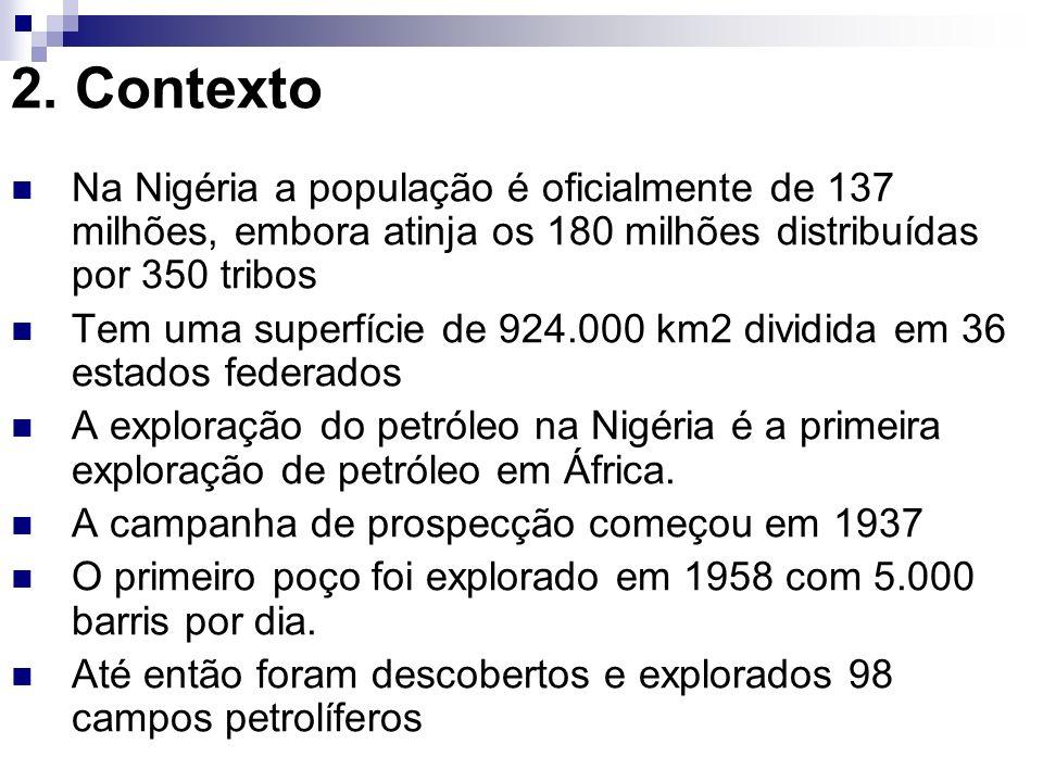 Estes campos encontram-se em terra, nas zonas húmidas e no mar, no Delta do Rio Niger, Cuja a população é de 7 milhões de habitantes, A superfície da exploração é de 31.000 km2, 5 Estados, 12 tribos e 1.500 comunidades Há uma grande pressão por parte da sociedade civil nigeriana sobre as empresas petrolíferas (ONG, Associações de Jovens, Estados, etc)
