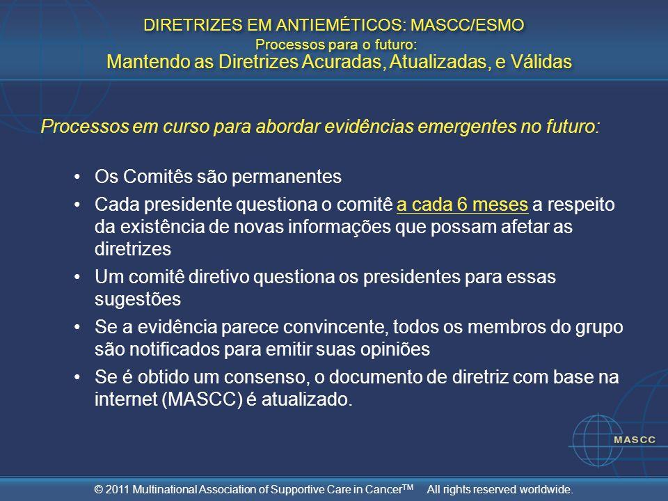 © 2011 Multinational Association of Supportive Care in Cancer TM All rights reserved worldwide. Processos em curso para abordar evidências emergentes