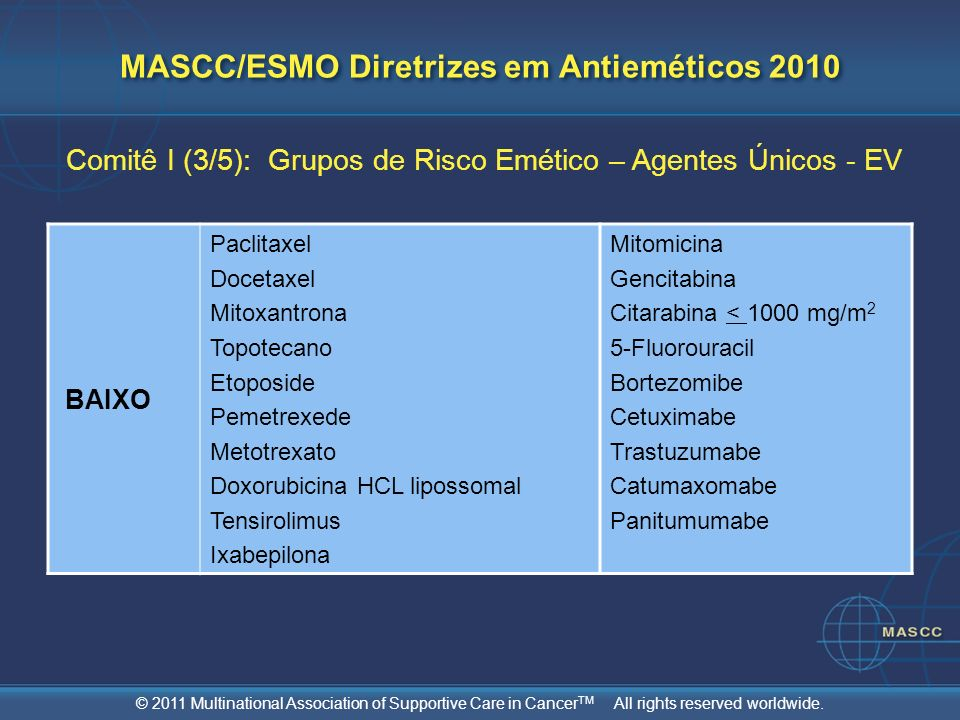 © 2011 Multinational Association of Supportive Care in Cancer TM All rights reserved worldwide. MASCC/ESMO Diretrizes em Antieméticos 2010 Comitê I (3
