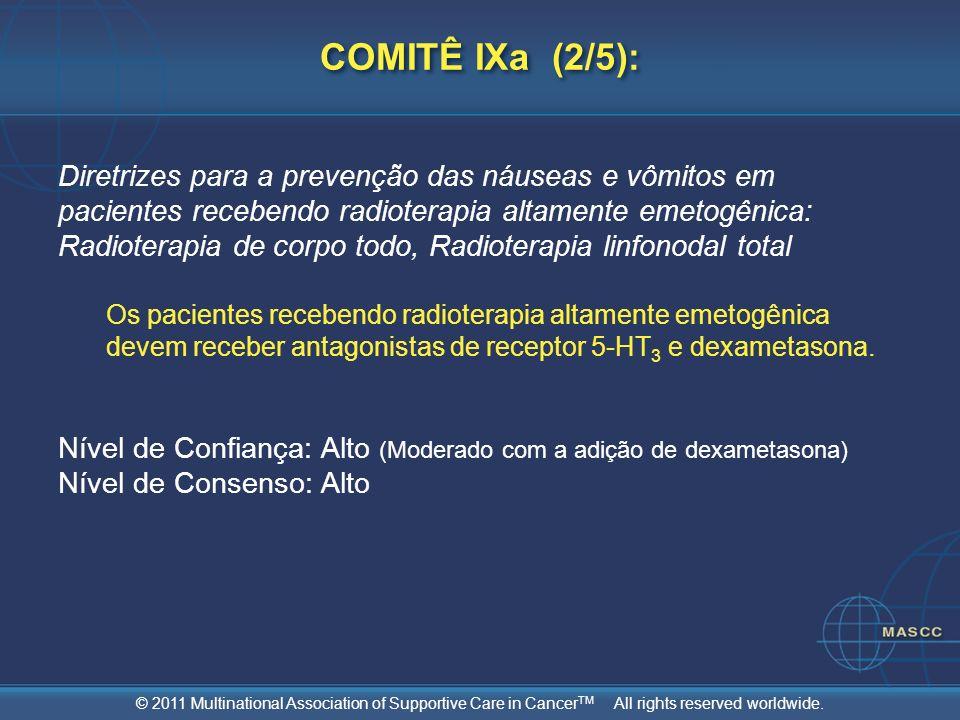 © 2011 Multinational Association of Supportive Care in Cancer TM All rights reserved worldwide. COMITÊ IXa (2/5): Diretrizes para a prevenção das náus