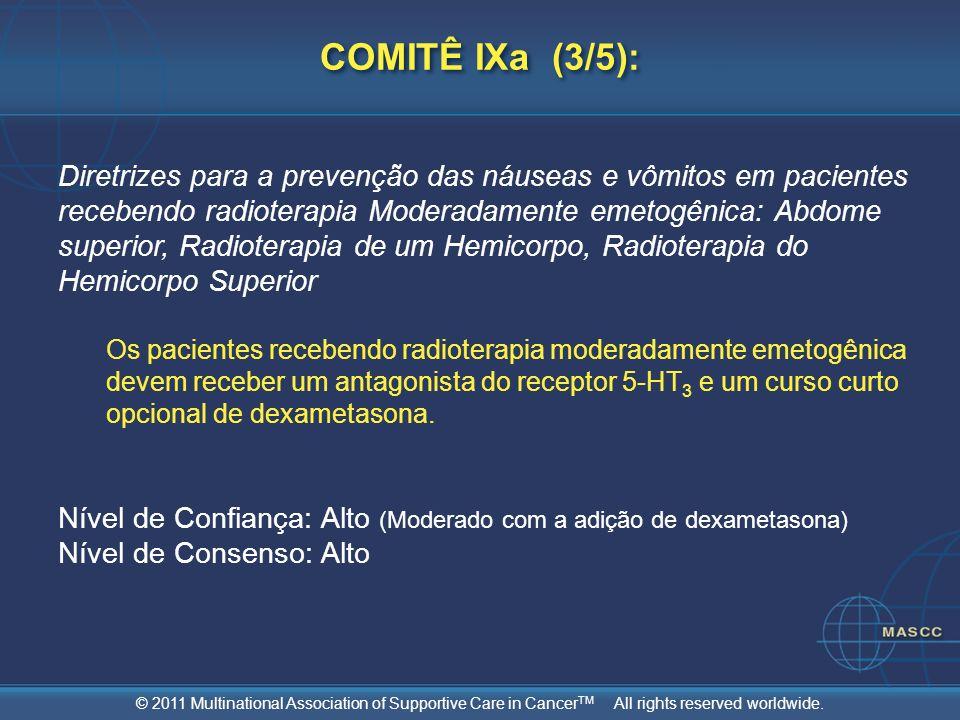 © 2011 Multinational Association of Supportive Care in Cancer TM All rights reserved worldwide. COMITÊ IXa (3/5): Diretrizes para a prevenção das náus