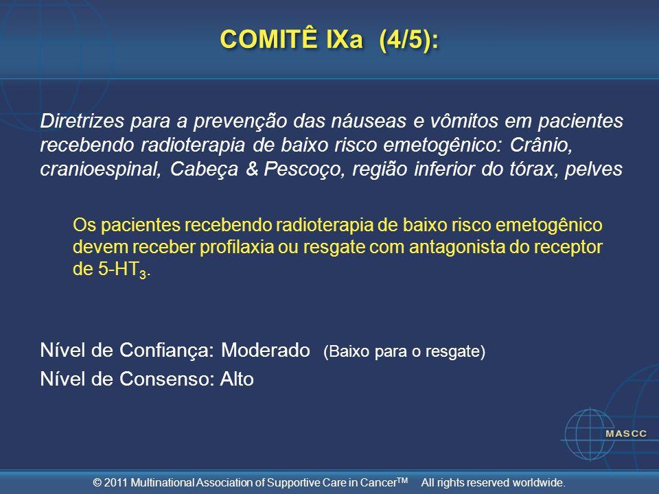 © 2011 Multinational Association of Supportive Care in Cancer TM All rights reserved worldwide. COMITÊ IXa (4/5): Diretrizes para a prevenção das náus