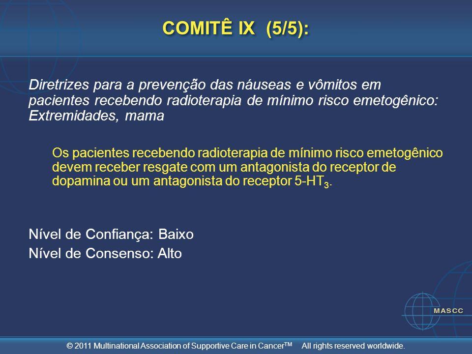 © 2011 Multinational Association of Supportive Care in Cancer TM All rights reserved worldwide. COMITÊ IX (5/5): Diretrizes para a prevenção das náuse