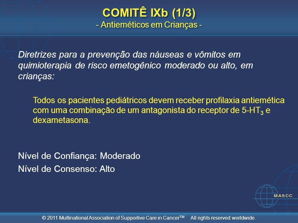 © 2011 Multinational Association of Supportive Care in Cancer TM All rights reserved worldwide. COMITÊ IXb (1/3) - Antieméticos em Crianças - Diretriz
