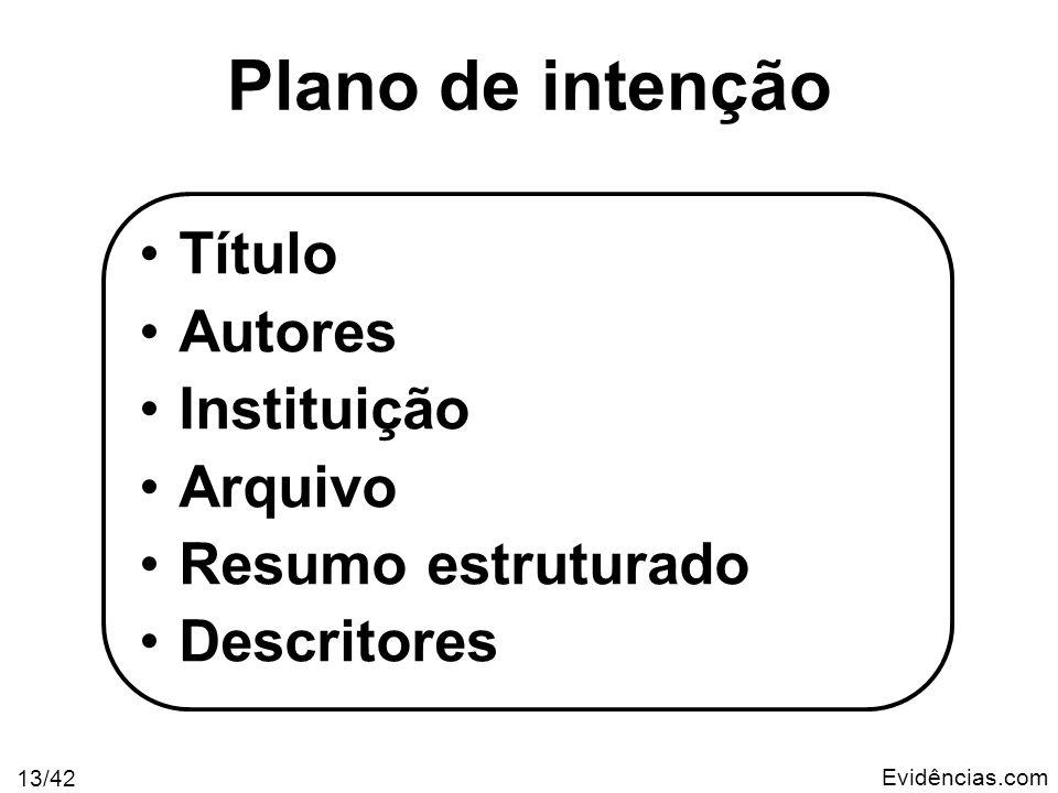 Evidências.com 13/42 Plano de intenção Título Autores Instituição Arquivo Resumo estruturado Descritores