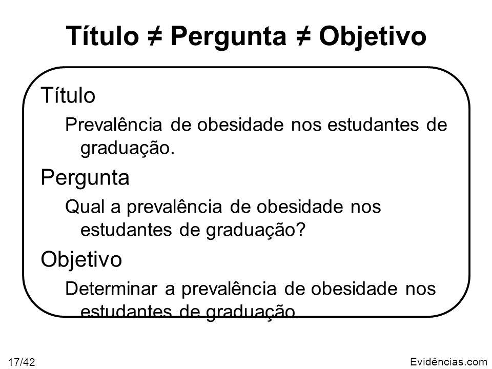 Evidências.com 17/42 Título Pergunta Objetivo Título Prevalência de obesidade nos estudantes de graduação. Pergunta Qual a prevalência de obesidade no