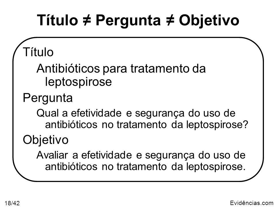 Evidências.com 18/42 Título Pergunta Objetivo Título Antibióticos para tratamento da leptospirose Pergunta Qual a efetividade e segurança do uso de an