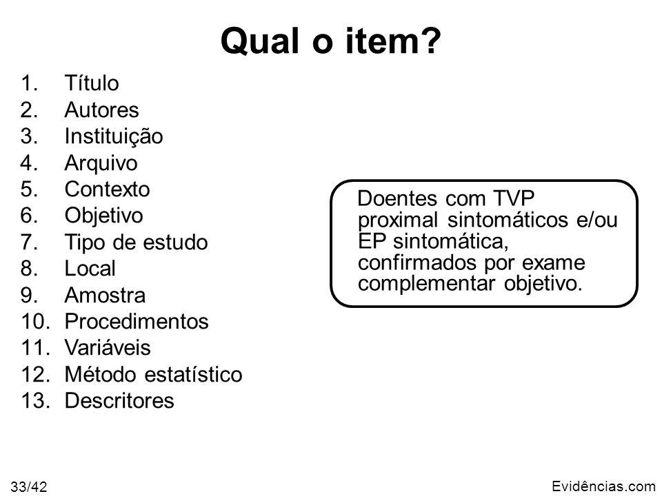 Evidências.com 33/42 Doentes com TVP proximal sintomáticos e/ou EP sintomática, confirmados por exame complementar objetivo. 1.Título 2.Autores 3.Inst