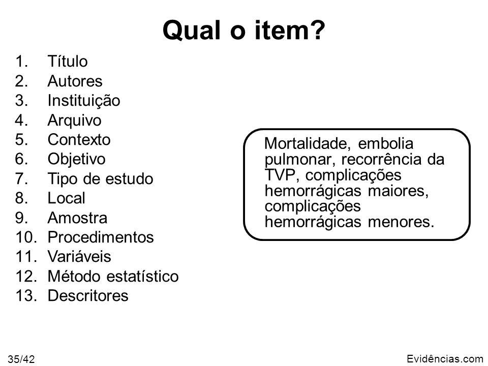 Evidências.com 35/42 Mortalidade, embolia pulmonar, recorrência da TVP, complicações hemorrágicas maiores, complicações hemorrágicas menores. 1.Título