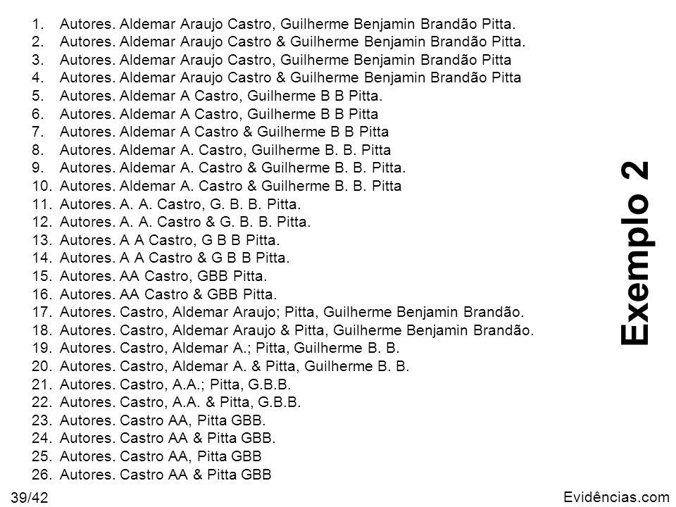 Evidências.com 39/42 1.Autores. Aldemar Araujo Castro, Guilherme Benjamin Brandão Pitta. 2.Autores. Aldemar Araujo Castro & Guilherme Benjamin Brandão