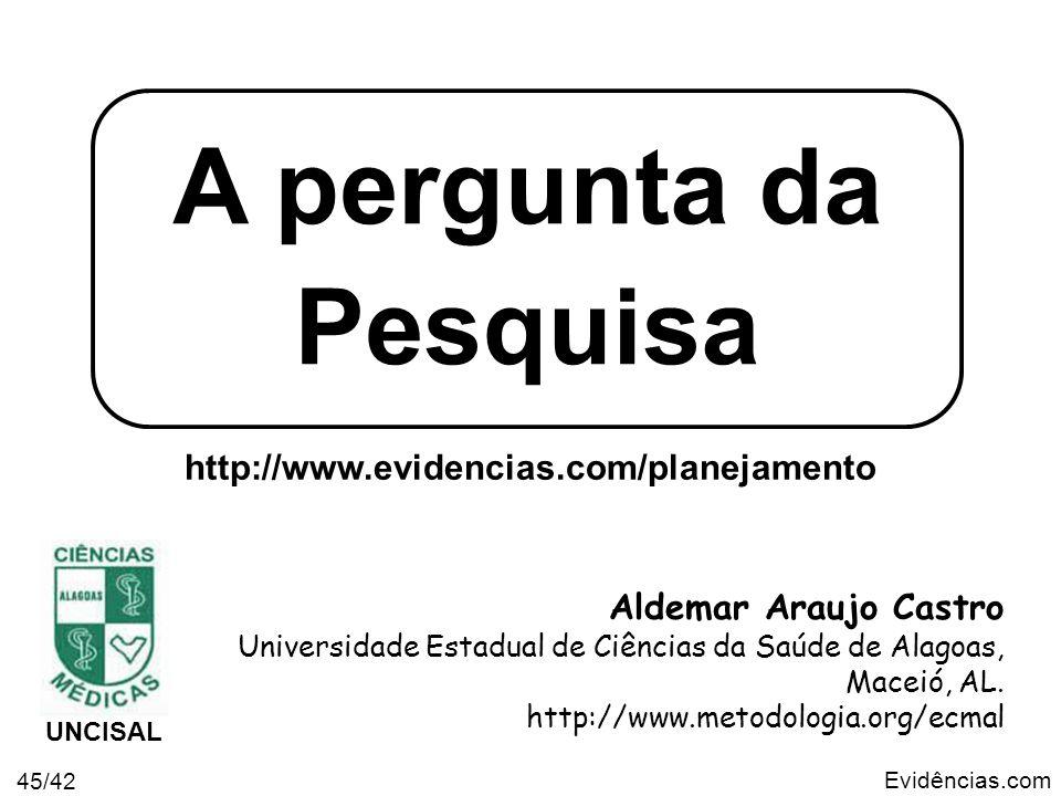 Evidências.com 45/42 A pergunta da Pesquisa Aldemar Araujo Castro Universidade Estadual de Ciências da Saúde de Alagoas, Maceió, AL. http://www.metodo