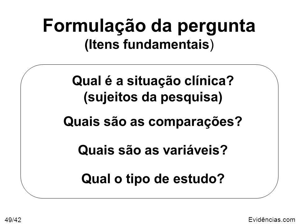 Evidências.com 49/42 Formulação da pergunta (Itens fundamentais) Qual é a situação clínica? (sujeitos da pesquisa) Quais são as comparações? Quais são