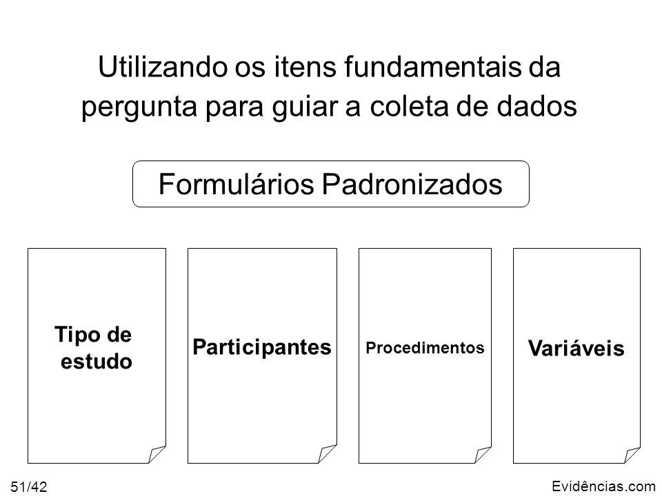 Evidências.com 51/42 Utilizando os itens fundamentais da pergunta para guiar a coleta de dados Tipo de estudo Participantes Procedimentos Variáveis Fo