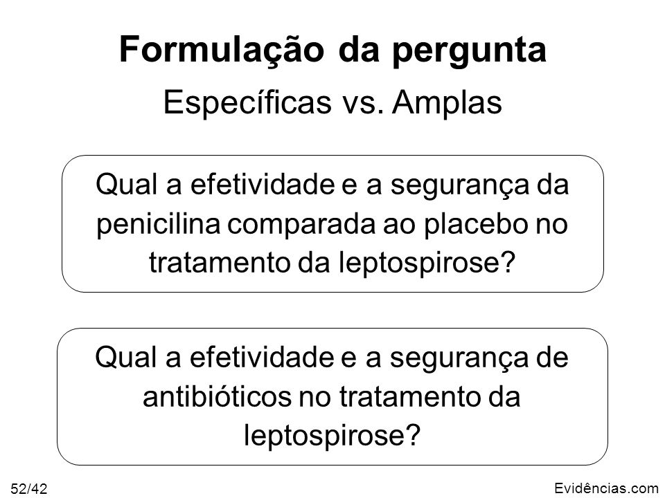 Evidências.com 52/42 Formulação da pergunta Específicas vs. Amplas Qual a efetividade e a segurança da penicilina comparada ao placebo no tratamento d