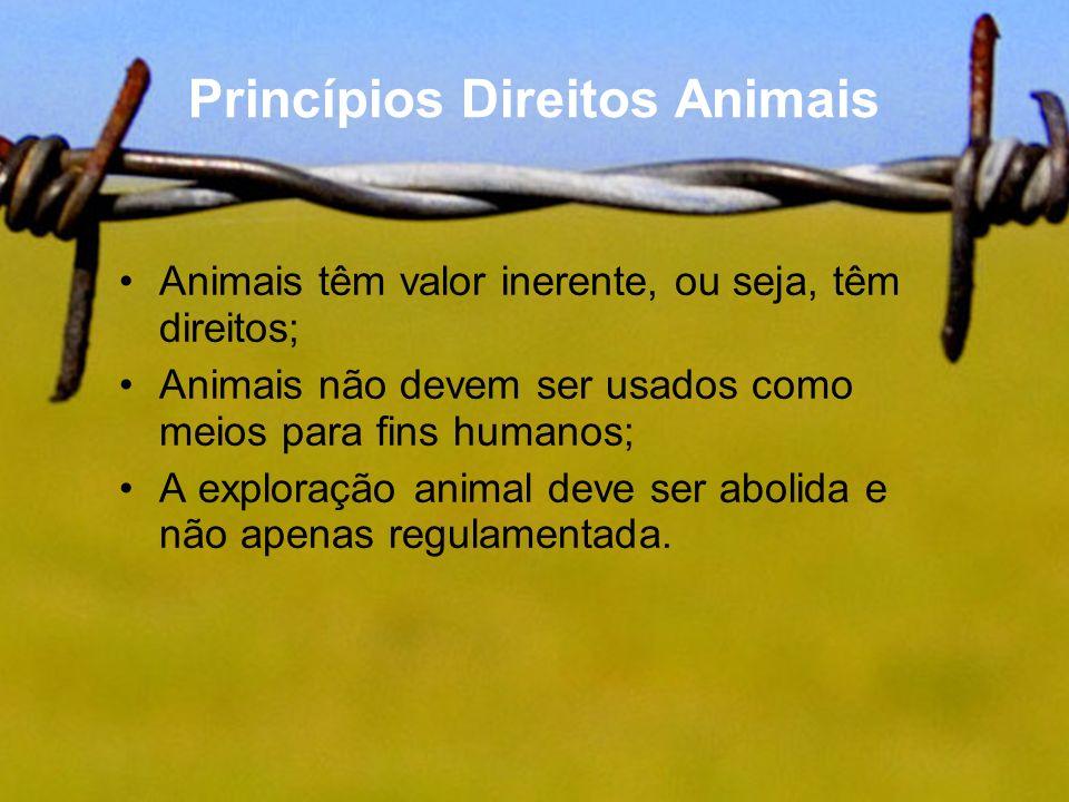 Princípios Direitos Animais Animais têm valor inerente, ou seja, têm direitos; Animais não devem ser usados como meios para fins humanos; A exploração
