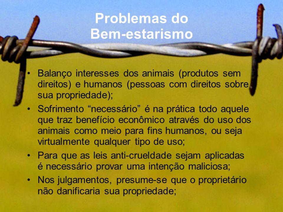 Problemas do Bem-estarismo Balanço interesses dos animais (produtos sem direitos) e humanos (pessoas com direitos sobre sua propriedade); Sofrimento n