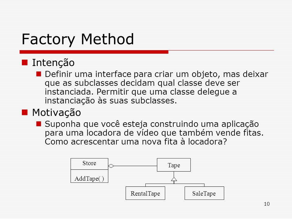 10 Factory Method Intenção Definir uma interface para criar um objeto, mas deixar que as subclasses decidam qual classe deve ser instanciada. Permitir