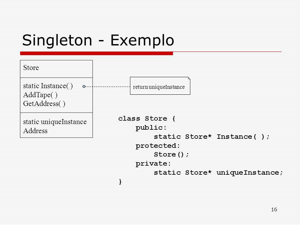 16 Singleton - Exemplo return uniqueInstance Store static Instance( ) AddTape( ) GetAddress( ) static uniqueInstance Address class Store { public: sta