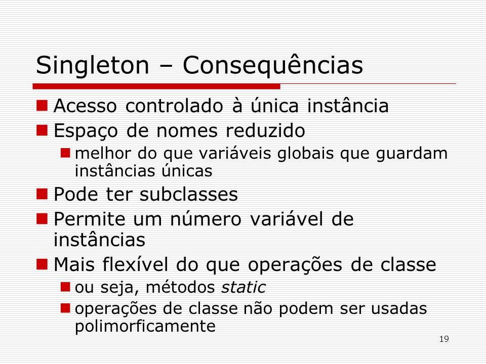 19 Singleton – Consequências Acesso controlado à única instância Espaço de nomes reduzido melhor do que variáveis globais que guardam instâncias única