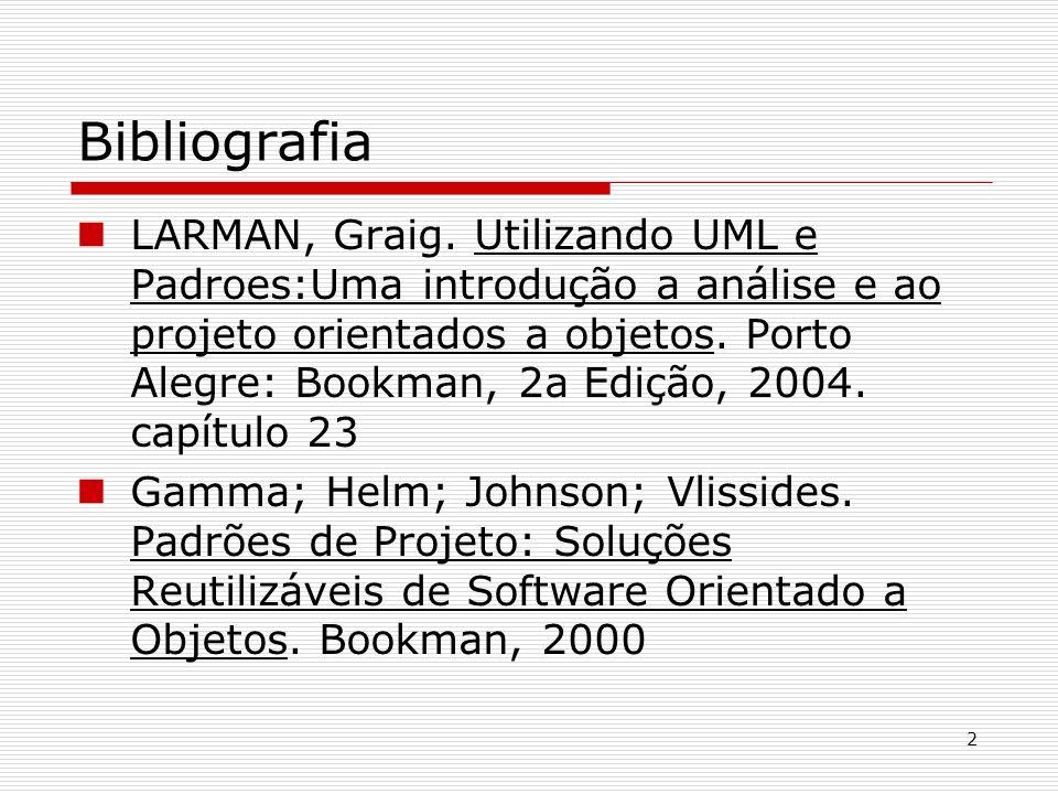 2 Bibliografia LARMAN, Graig. Utilizando UML e Padroes:Uma introdução a análise e ao projeto orientados a objetos. Porto Alegre: Bookman, 2a Edição, 2