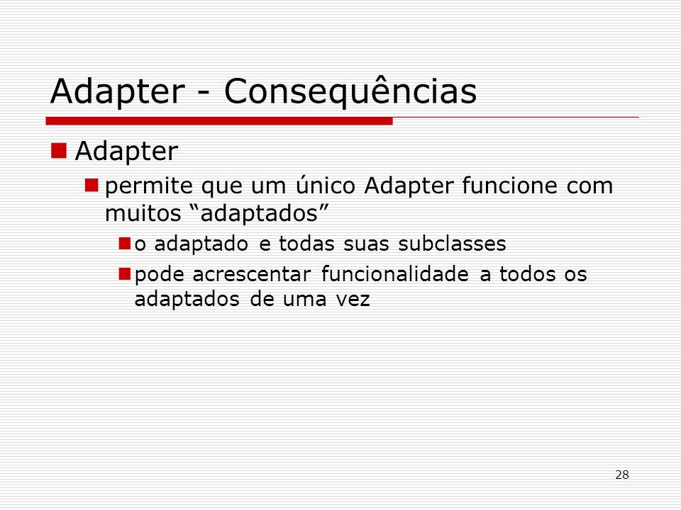28 Adapter - Consequências Adapter permite que um único Adapter funcione com muitos adaptados o adaptado e todas suas subclasses pode acrescentar func