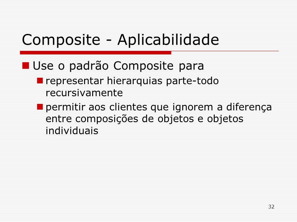 32 Composite - Aplicabilidade Use o padrão Composite para representar hierarquias parte-todo recursivamente permitir aos clientes que ignorem a difere