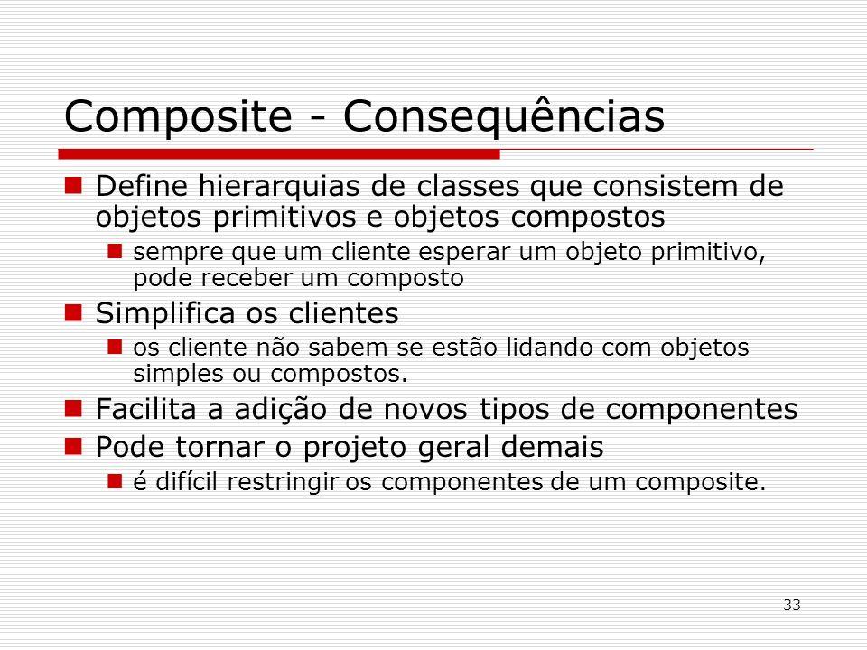 33 Composite - Consequências Define hierarquias de classes que consistem de objetos primitivos e objetos compostos sempre que um cliente esperar um ob