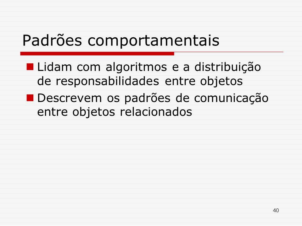40 Padrões comportamentais Lidam com algoritmos e a distribuição de responsabilidades entre objetos Descrevem os padrões de comunicação entre objetos