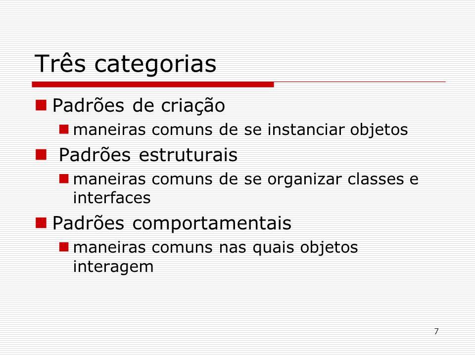 7 Três categorias Padrões de criação maneiras comuns de se instanciar objetos Padrões estruturais maneiras comuns de se organizar classes e interfaces