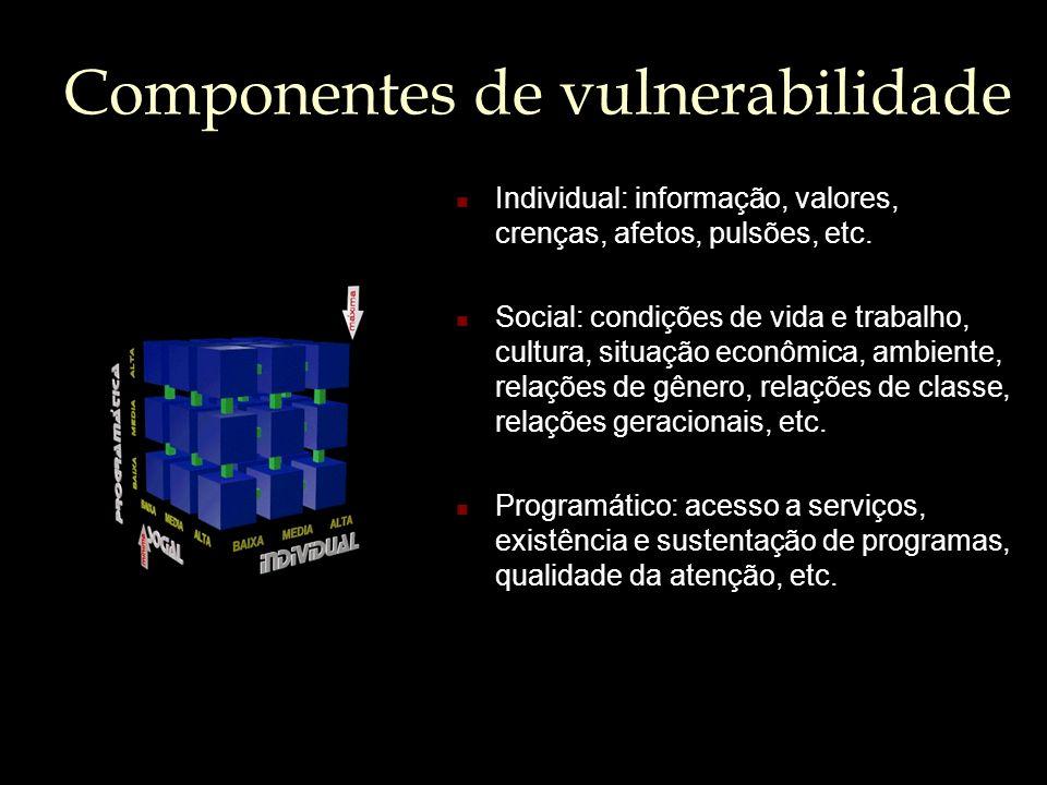 Componentes de vulnerabilidade Individual: informação, valores, crenças, afetos, pulsões, etc. Social: condições de vida e trabalho, cultura, situação