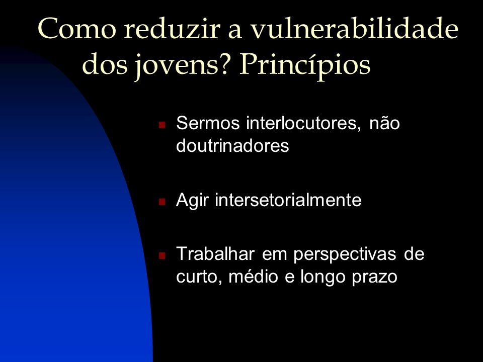 Como reduzir a vulnerabilidade dos jovens? Princípios Sermos interlocutores, não doutrinadores Agir intersetorialmente Trabalhar em perspectivas de cu