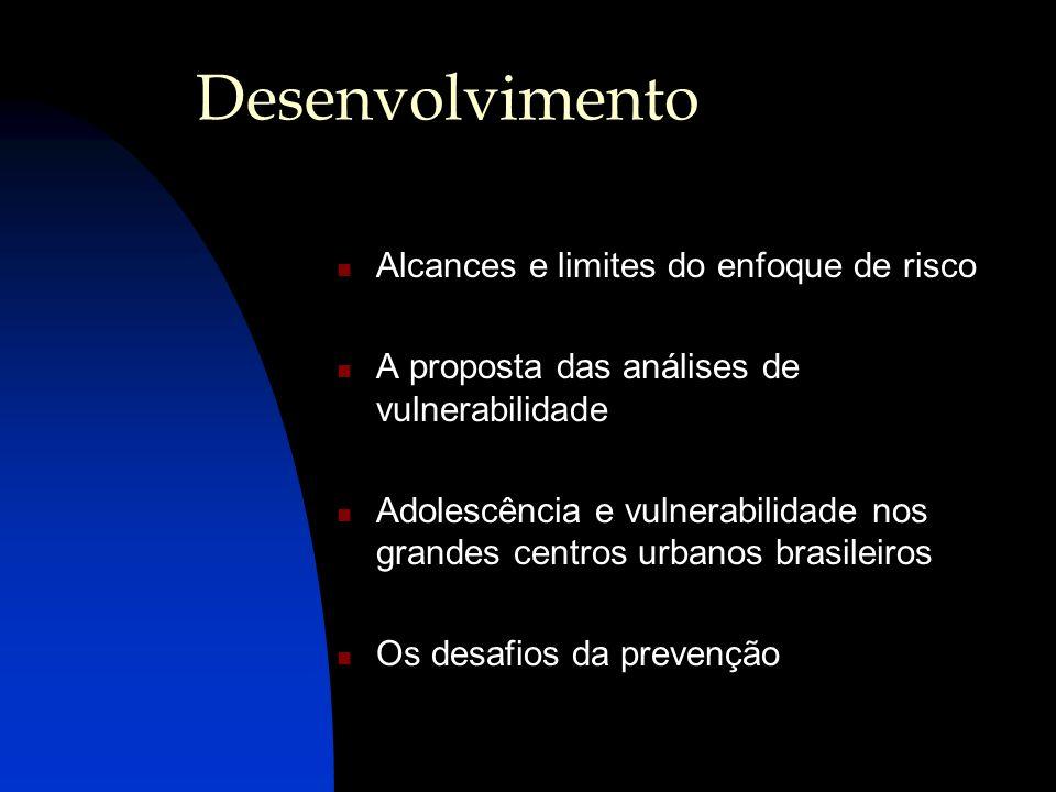 Desenvolvimento Alcances e limites do enfoque de risco A proposta das análises de vulnerabilidade Adolescência e vulnerabilidade nos grandes centros u