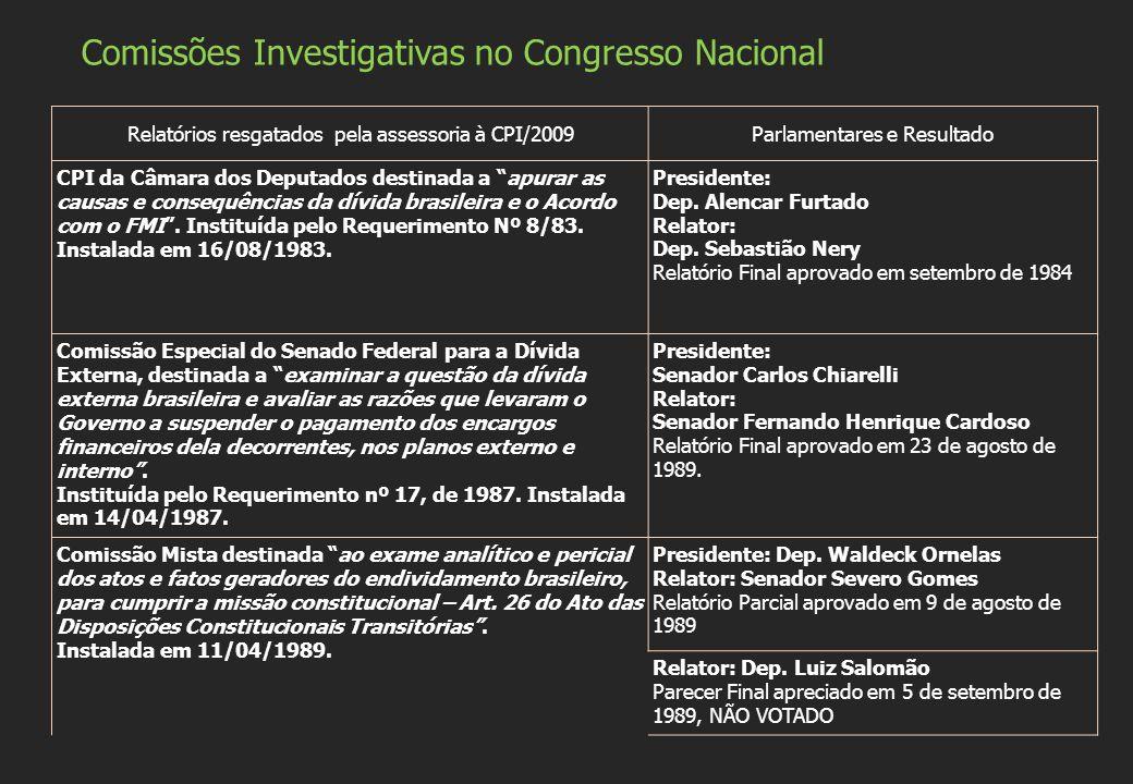 Relatórios resgatados pela assessoria à CPI/2009Parlamentares e Resultado CPI da Câmara dos Deputados destinada a apurar as causas e consequências da