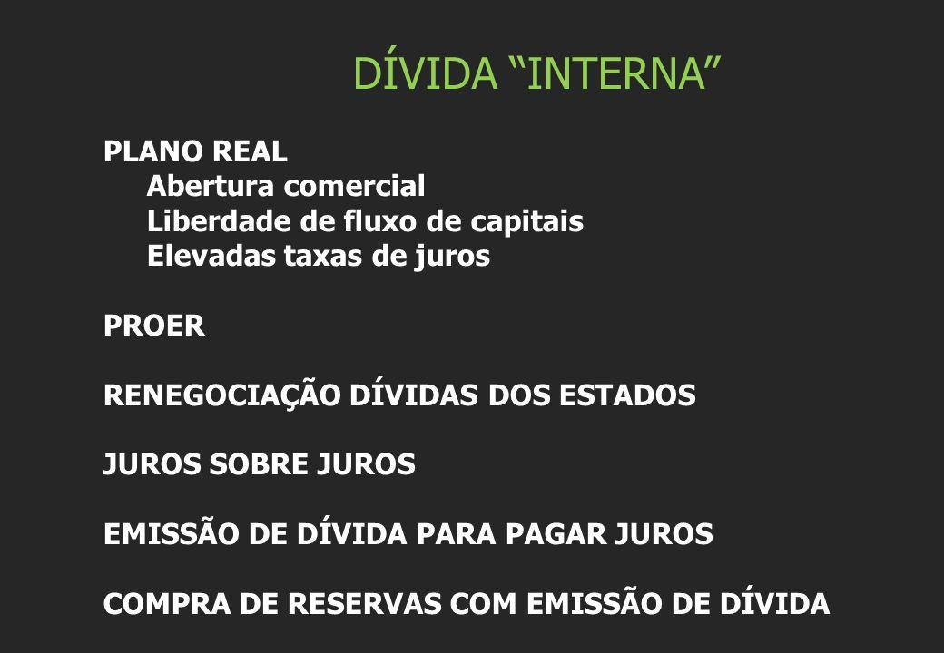DÍVIDA INTERNA PLANO REAL Abertura comercial Liberdade de fluxo de capitais Elevadas taxas de juros PROER RENEGOCIAÇÃO DÍVIDAS DOS ESTADOS JUROS SOBRE